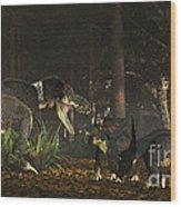 Daspletosaurus Confronts A Family Wood Print