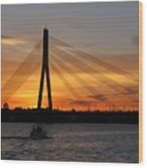 Daugava Sunset. Riga. Latvia Wood Print