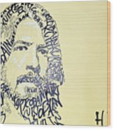 Dave Grohl Word Portrait With The Word Kurt Cobain Wood Print