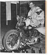 Dave On A Harley Tulare Raiders Mc Hollister Calif. July 4 1947 Wood Print