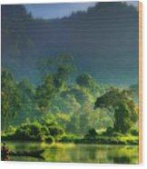 Dave Ruberto - Wonderful Lake Green Nature Landscape  Wood Print