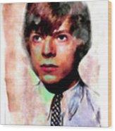 David Bowie Teenager Aquarelle  Wood Print