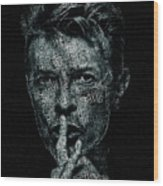 David Bowie Text Portrait - Typographic Poster With Album Titles And Background With Songs Names Wood Print