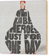 David Bowie Typography Art Wood Print