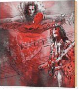 David Lee Roth And Eddie Van Halen Jump Wood Print