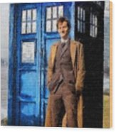 David Tennant As Doctor Who And Tardis Wood Print by Elizabeth Coats
