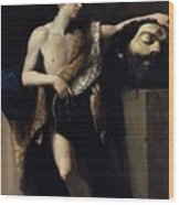 David With The Head Of Goliath 1606 Wood Print