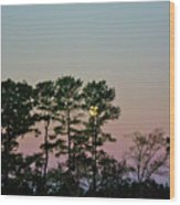 Dawn And Moon Setting - Virginia Wood Print