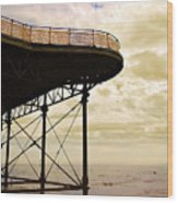 Dawn At Colwyn Bay Victoria Pier Conwy North Wales Uk  Wood Print