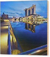 Dawn At Marina Bay Promenade Singapore Wood Print