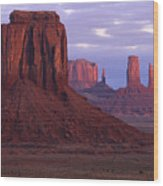 Dawn At Monument Valley Wood Print