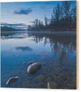 Dawn At River Wood Print