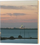 Dawn At The Sunshine Skyway Bridge Viewed From Tierra Verde Florida Wood Print