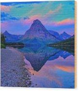 Dawn At Two Medicine Lake Wood Print