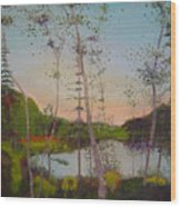 Dawn By The Pond Wood Print
