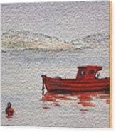Dawn Fishing Wood Print