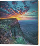 Dawn In The Chisos Wood Print