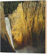 Dawn, Lower Falls Of The Yellowstone Wood Print