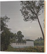 Dawn Moon Over Chinese Garden Singapore Wood Print