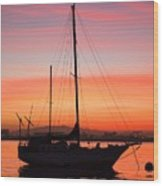 Dawn Of The Sailboat Wood Print