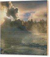 Dawn On Castle Geyser Wood Print