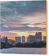 Dawn On The Charles River Wood Print by Susan Cole Kelly