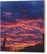 Dawn On The Farm Wood Print