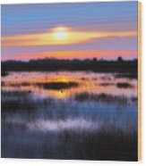 Dawn Over The Salt Marsh Wood Print
