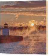 Dawn Peeking Over At Derby Lighthouse Wood Print
