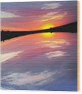 Dawn Sky And Water Wood Print