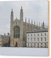 Dawn Sunshine Hit Kings College Chapel On Christmas Eve. Wood Print