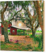 Dawning At The Barn Wood Print