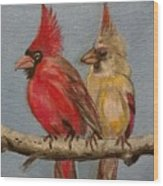 Dawn's Cardinals Wood Print