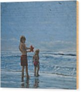 Day At The Beach Wood Print