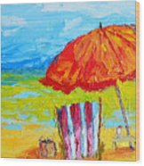 Day At The Beach - Modern Impressionist Knife Palette Oil Painting Wood Print
