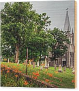 Day Lilies By A Church  Wood Print