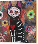 Day Of The Dead Cat El Gato Wood Print