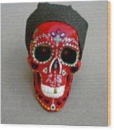Day Of The Dead Skulls-biker Dude Wood Print