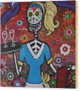 Day Of The Dead Waitress Wood Print