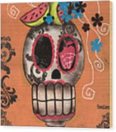 Day Of The Dead Watermelon Wood Print by  Abril Andrade Griffith
