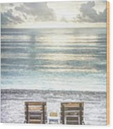 Daydreaming By The Sea In Watercolors Wood Print