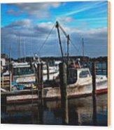 Days End At The Dock Wood Print