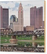 Daytime View Of Columbus Over The Scioto Wood Print