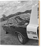 Daytona Charger In Black And White Wood Print