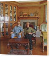 Db6362 Ed Cooper With Fred Beckey In Library 2013 Wood Print