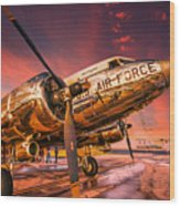 Dc-3 In Surreal Evening Light Wood Print