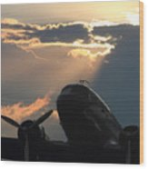 Dc-3 On Sunrise 1 Wood Print