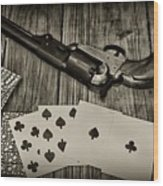 Dead Mans Hand Black And White Wood Print