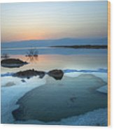 Dead Sea Shallow Waters At Dawn Wood Print