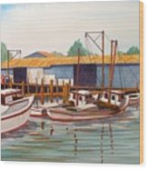 Deadrise Dock Wood Print